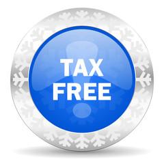 tax free blue icon, christmas button