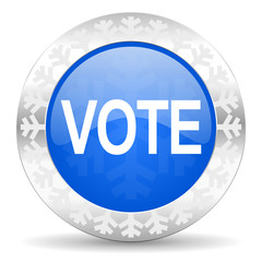 vote blue icon, christmas button