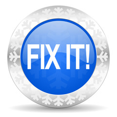 fix it blue icon, christmas button