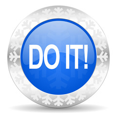 do it blue icon, christmas button