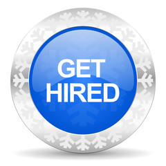 get hired blue icon, christmas button