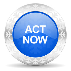 act now blue icon, christmas button