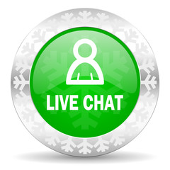 live chat green icon, christmas button