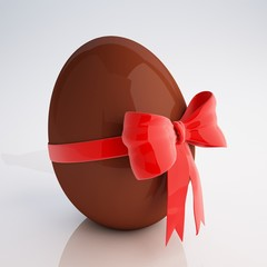 Chocolate egg with bow 3d illustration