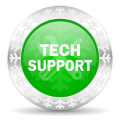technical support green icon, christmas button