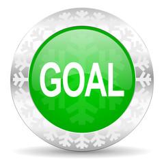 goal green icon, christmas button