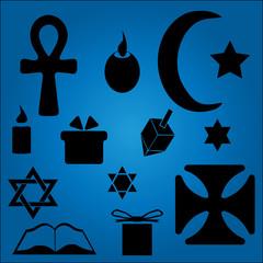 Hanukkah Symbols Over Blue