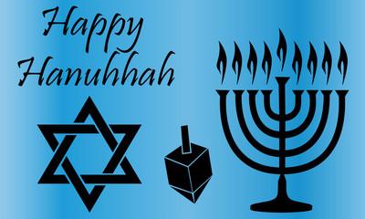Black Hanukkah Symbols Over a Blue Background