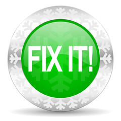 fix it green icon, christmas button