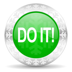 do it green icon, christmas button