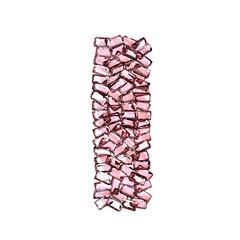 i lettera rubino rosso rosa gemme 3d, sfondo bianco