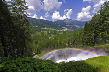 rainbow in krimml waterfalls austria