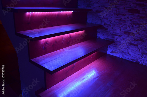 Illuminated wooden stairs