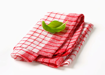 Red and white kitchen tea towel