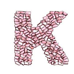 k lettera rubino rosso rosa gemme 3d, sfondo bianco