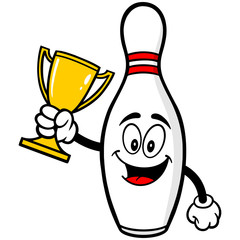 Bowling Pin with Trophy