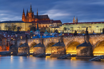 Charles Bridge and cathedral in Prague, Czech Republic.
