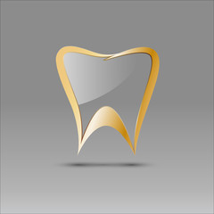 Vector sign tooth in glass