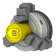 Токарный патрон. Заготовка с символом европейской валюты