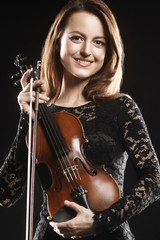 Beautiful woman with violin Player violinist portrait