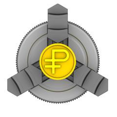 Токарный патрон. Заготовка с символом российского рубля