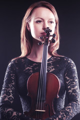 Beautiful woman portrait violin Player violinist