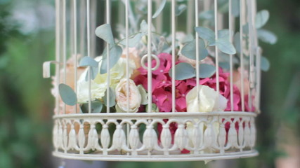 Flowers in a bird's cage