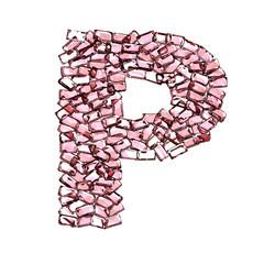 p lettera rubino rosso rosa gemme 3d, sfondo bianco