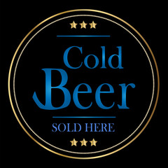 Cold Beer Sign with Gold Stars on Black