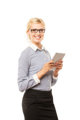 business, internet and technology concept - smiling woman