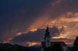 canvas print picture - Kirche mit mystischem Himmel