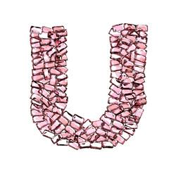 u lettera rubino rosso rosa gemme 3d, sfondo bianco