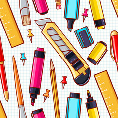 seamless background. various stationery