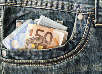 Banknotes in your pocket, euros in jeans.
