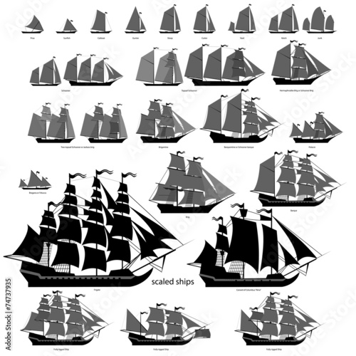 Vector ships set with separate editable elements. - 74737935