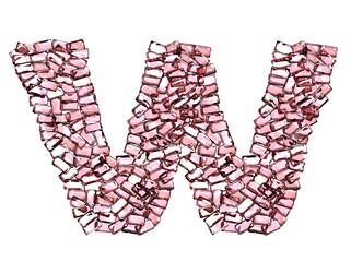 w lettera rubino rosso rosa gemme 3d, sfondo bianco