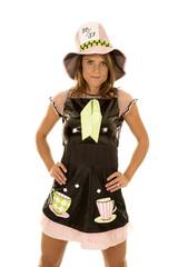 woman in costume big hat looking