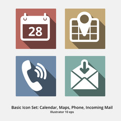 Basic Icon Set: Calendar, Maps, Phone, Incoming Mail