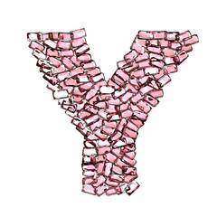 y lettera rubino rosso rosa gemme 3d, sfondo bianco