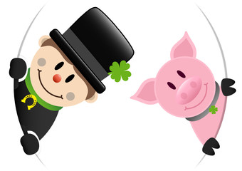 Chimney Sweeper & Pig Round Banner
