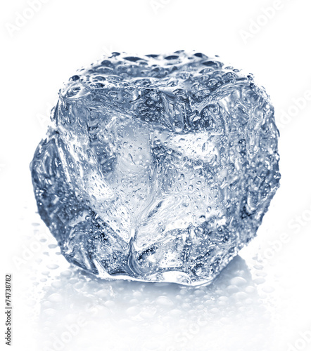 Ice cube isolated on white. - 74738782