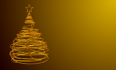 Christmas Tree Made Of Gold Wire. Yellow Background. Wide.