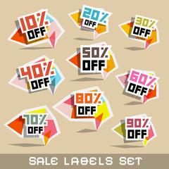 Paper Sale - Discount Labels Vector Illustration