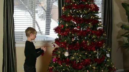 Mother and child hanging Christmas Ornaments