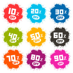 Splash Vector Discount Labels Set Isolated on White Background
