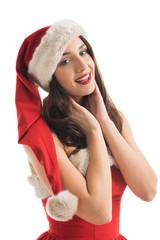 Beautiful woman wearing Santa Claus helper