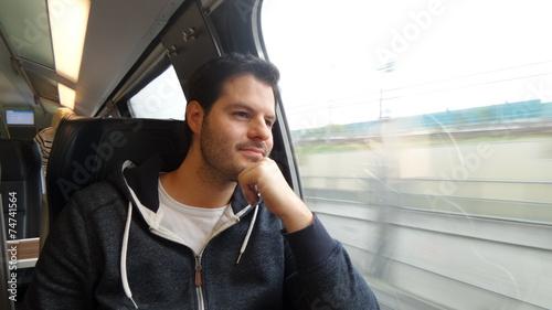 canvas print picture Mann fährt Eisenbahn