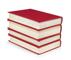 stack of vintage red books on white isolation