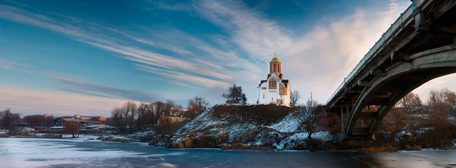 Landscape, Church on hill near river bridge