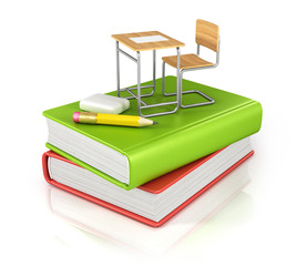 classroom chair desk with stationery objects on books